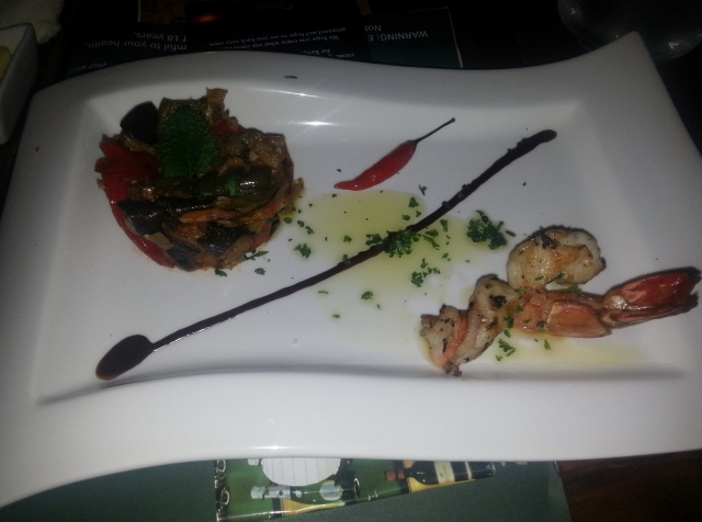 "Sweet & sour ""baroque"" sicilian caponata, grilled jumbo prawn's tail and spicy chocolate sauce"